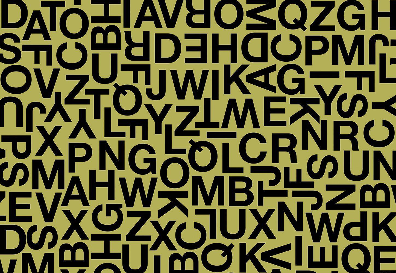 IDEALDECOR Fototapete »Alphabetische Zeichen«, BlueBack, 4 Bahnen, 368 x 254 cm