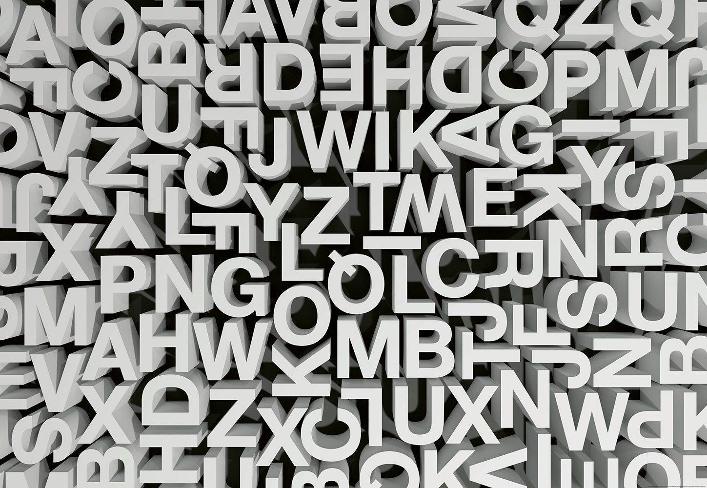 IDEALDECOR Fototapete »3D Typografie Buchstaben Abc«, Vlies, 4 Bahnen, 368 x 254 cm