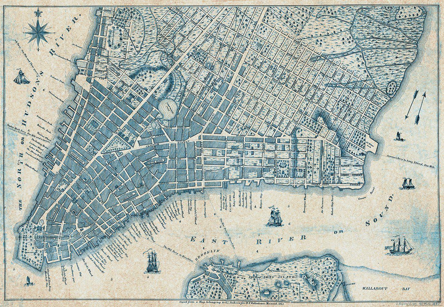 IDEALDECOR Fototapete »Alter Vintage Stadtplan New York«, BlueBack, 4 Bahnen, 368 x 254 cm