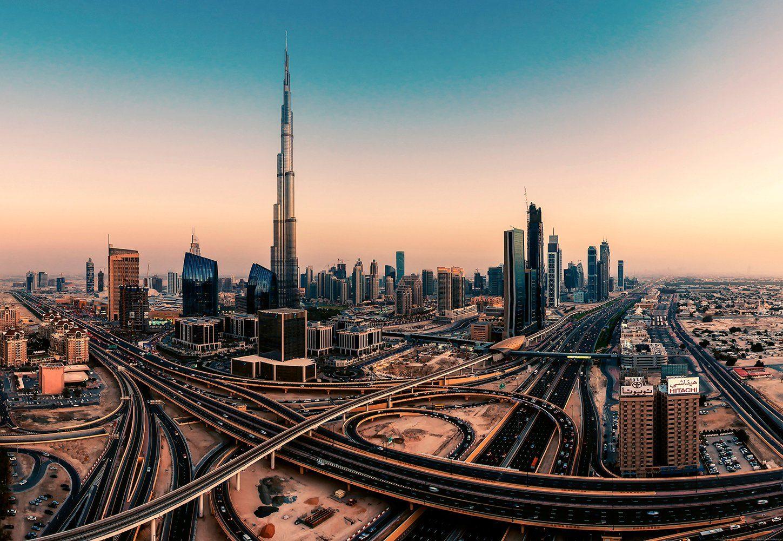 IDEALDECOR Fototapete »Dubai Vereinigte Arabische Emirate«, BlueBack, 4 Bahnen, 368 x 254 cm