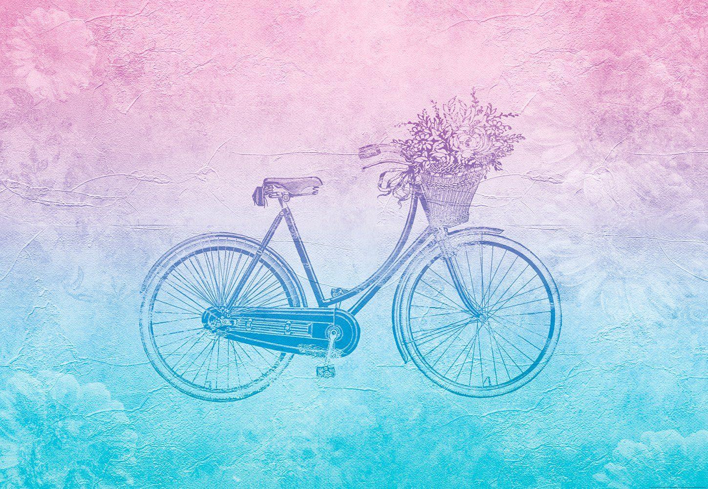 IDEALDECOR Fototapete »Groovy Vintage Fahrrad«, Vlies, 4 Bahnen, 368 x 254 cm
