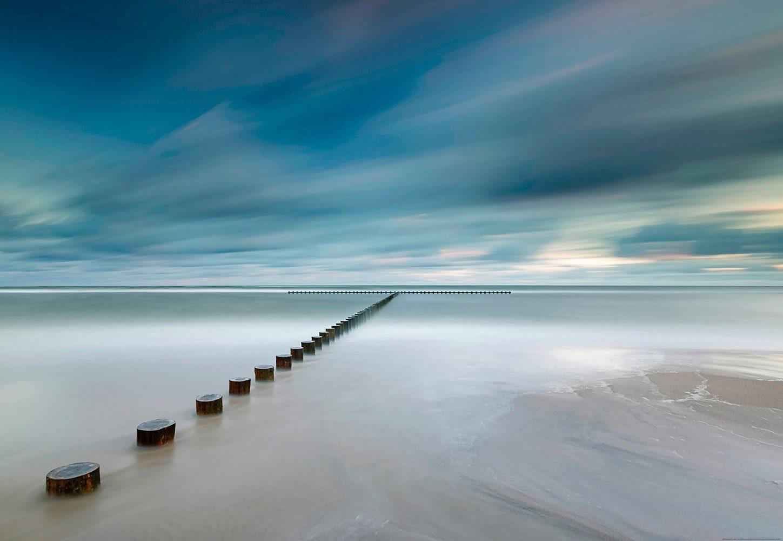 IDEALDECOR Fototapete »Küste Polen«, Vlies, 4 Bahnen, 368 x 254 cm