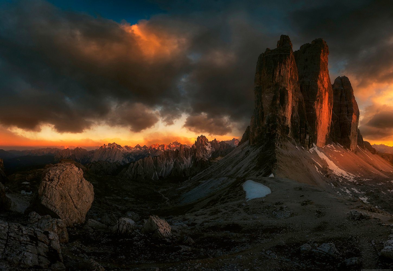 IDEALDECOR Fototapete »Dolomiten Italien«, Vlies, 4 Bahnen, 368 x 254 cm