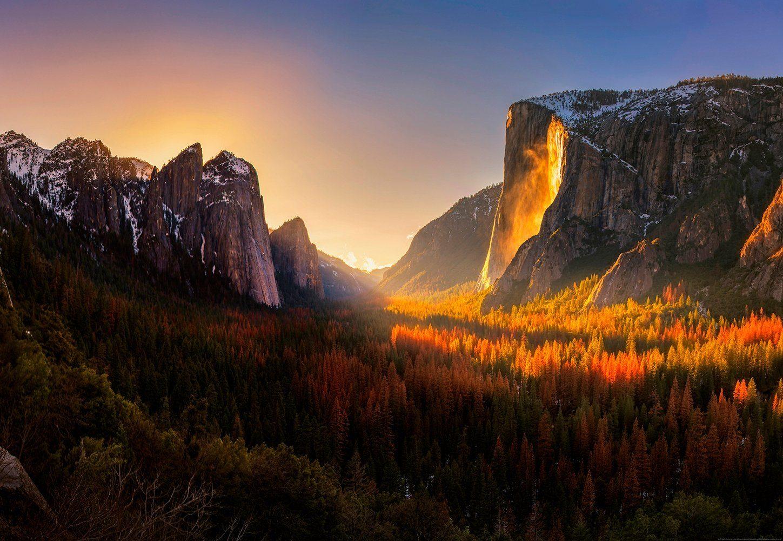 IDEALDECOR Fototapete »Yosemite Nationalpark USA«, Vlies, 4 Bahnen, 368 x 254 cm