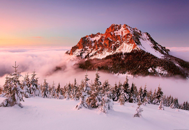 IDEALDECOR Fototapete »Schneebedeckte Berggipfel«, Vlies, 4 Bahnen, 368 x 254 cm
