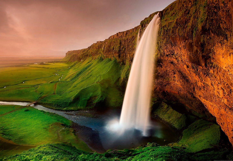 IDEALDECOR Fototapete »Wasserfall Island«, Vlies, 4 Bahnen, 368 x 254 cm
