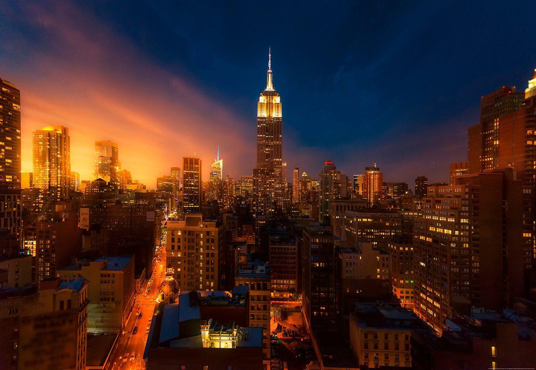 IDEALDECOR Fototapete »Empire State Building New York«, Vlies, 4 Bahnen, 368 x 254 cm