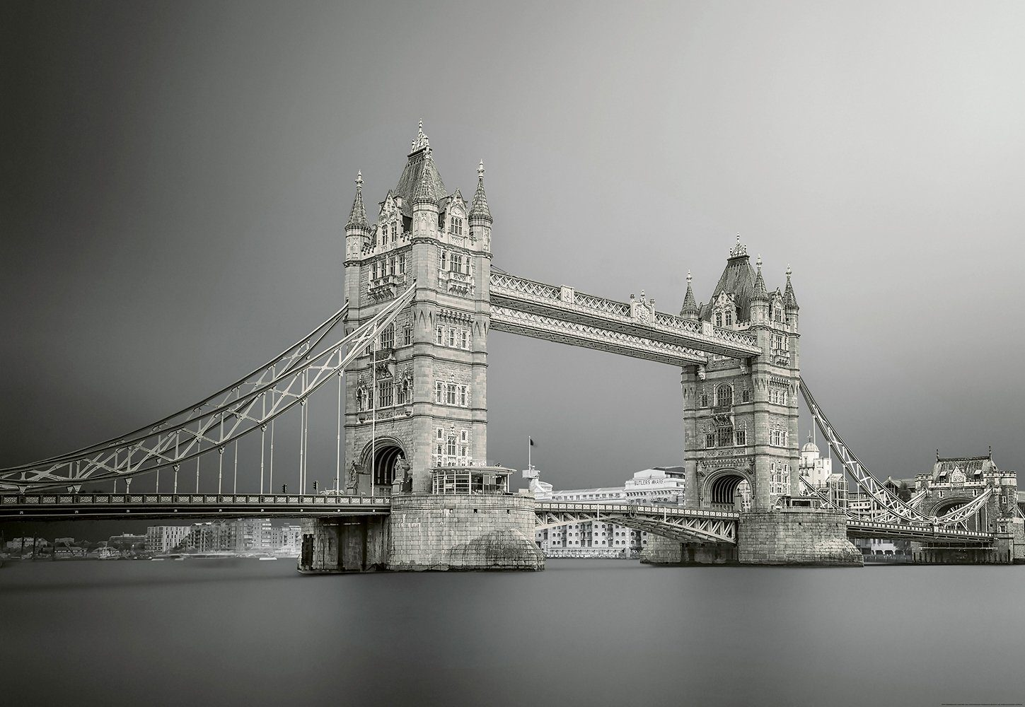 IDEALDECOR Fototapete »Tower Bridge London«, Vlies, 4 Bahnen, 368 x 254 cm