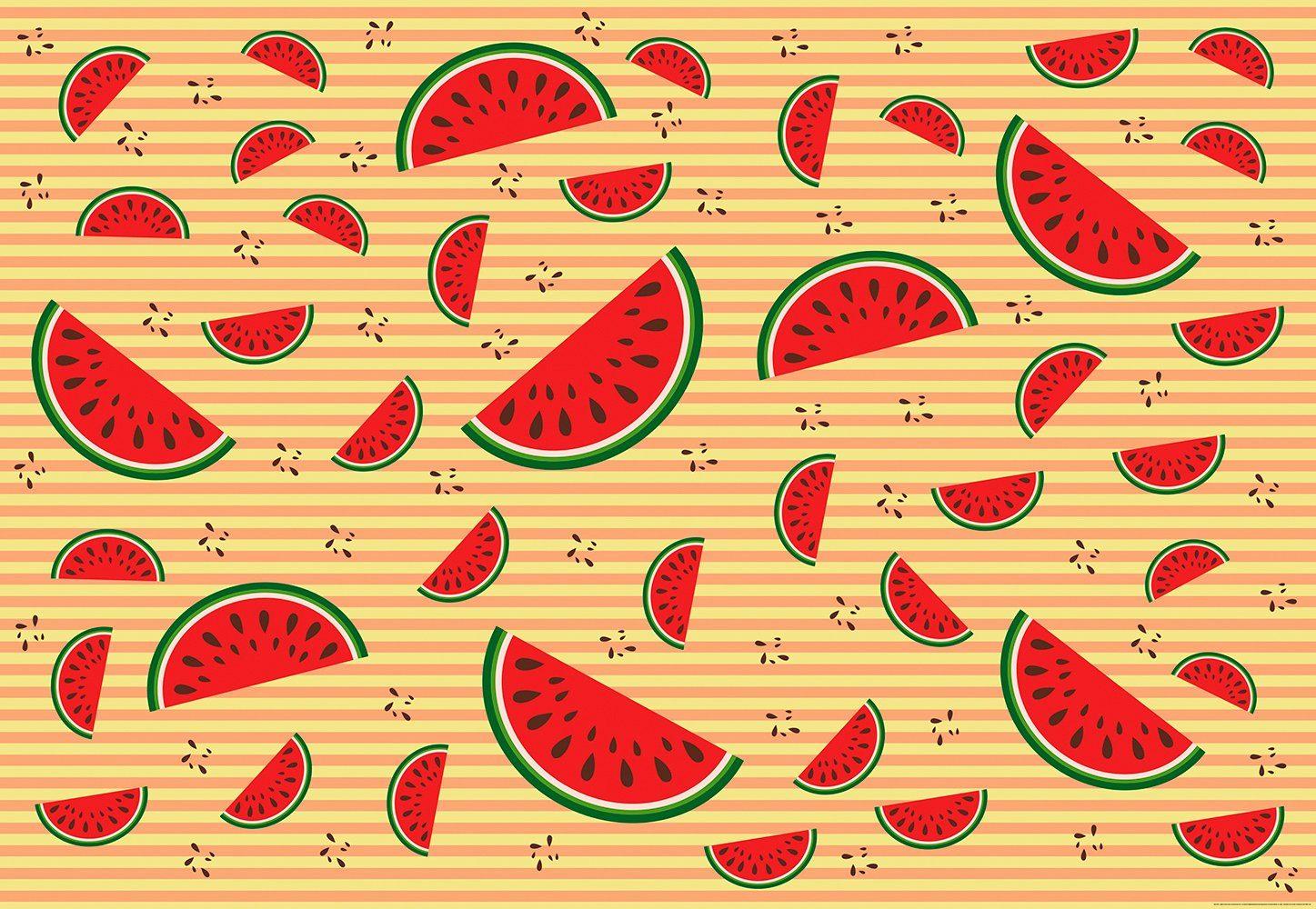IDEALDECOR Fototapete »Melonen Orange«, Vlies, 4 Bahnen, 368 x 254 cm