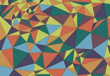 IDEALDECOR Fototapete »Kunst Polygone 1«, Vlies, 4 Bahnen, 368 x 254 cm