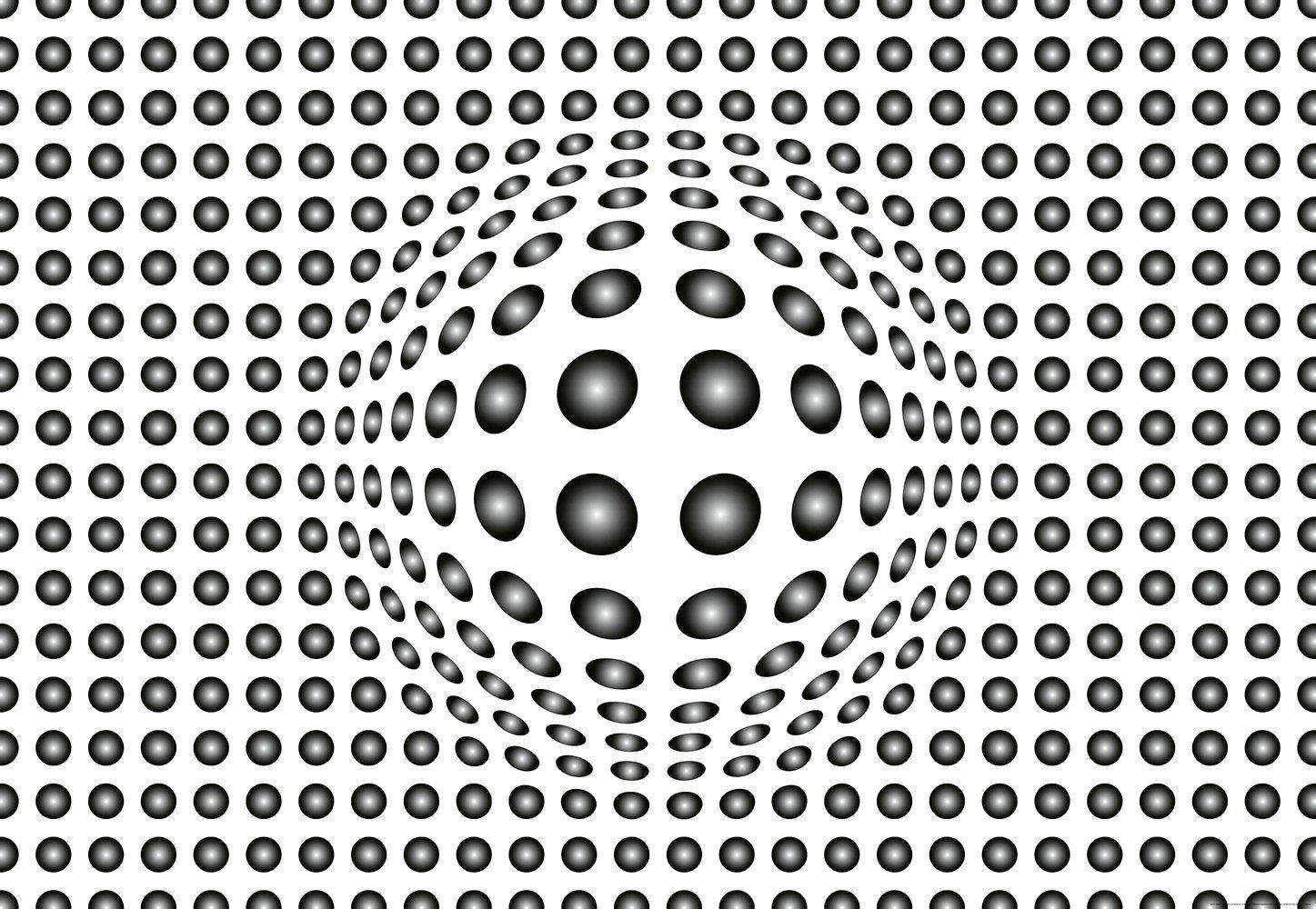 IDEALDECOR Fototapete »Punkte schwarzweiß«, Vlies, 4 Bahnen, 368 x 254 cm