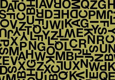 IDEALDECOR Fototapete »Alphabetische Zeichen«, Vlies, 4 Bahnen, 368 x 254 cm
