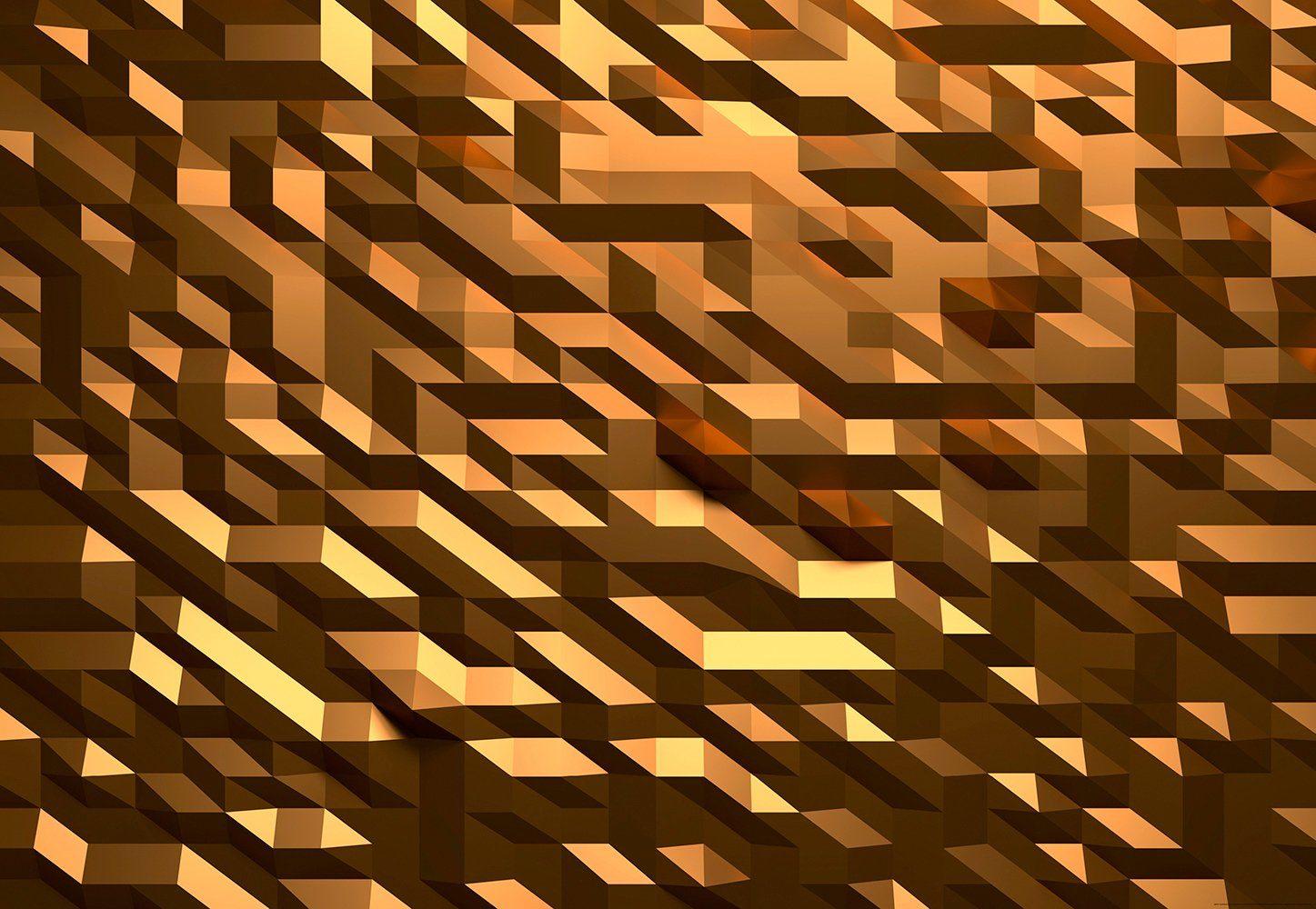 IDEALDECOR Fototapete »3D Kristall Gold«, Vlies, 4 Bahnen, 368 x 254 cm