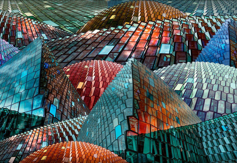 IDEALDECOR Fototapete »Abstraktes Puzzle«, Vlies, 4 Bahnen, 368 x 254 cm