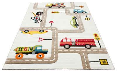 Kinderteppich »Strassen«, Lüttenhütt, rechteckig, Höhe 13 mm, handgearbeiteter Konturenschnitt, Straßen-Spielteppich