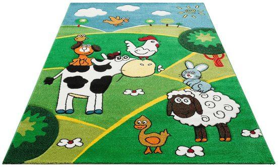 Kinderteppich »Bauernhof«, Lüttenhütt, rechteckig, Höhe 13 mm, handgearbeiteter Konturenschnitt