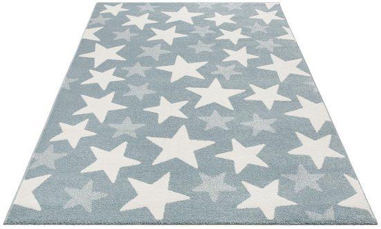 Kinderteppich »Stars«, Lüttenhütt, rechteckig, Höhe 13 mm, Pastell-Farben, Motiv Sterne
