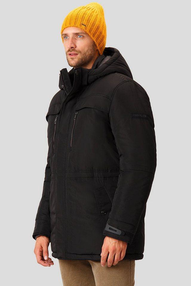Herren Finn Flare Winterjacke mit warmer Kapuze schwarz | 06438157375629