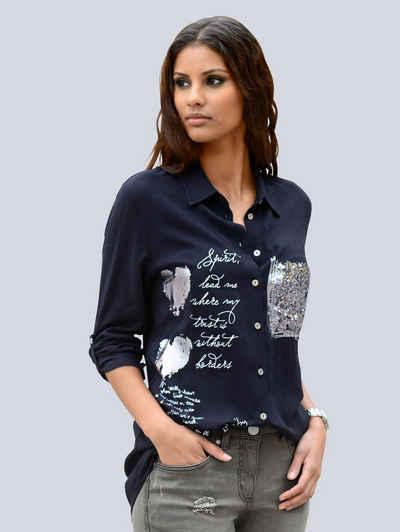 1c7977e2a77618 Alba Moda Bluse mit Pailletten und Folienprint