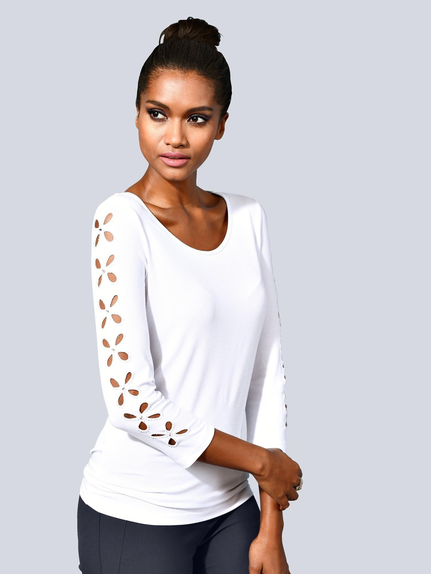 Alba Moda Shirt mit wunderschönen Cut-Out und Strasssteinen am Ärmel