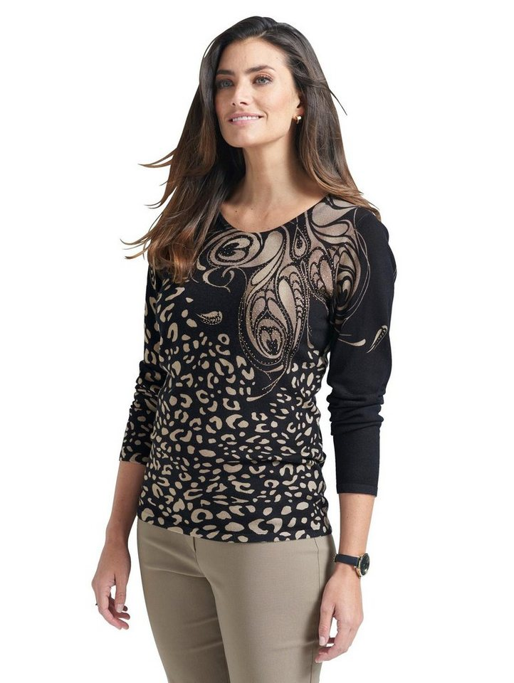 Damen Mona Pullover mit glitzernden Strasssteinen schwarz   04055716905336