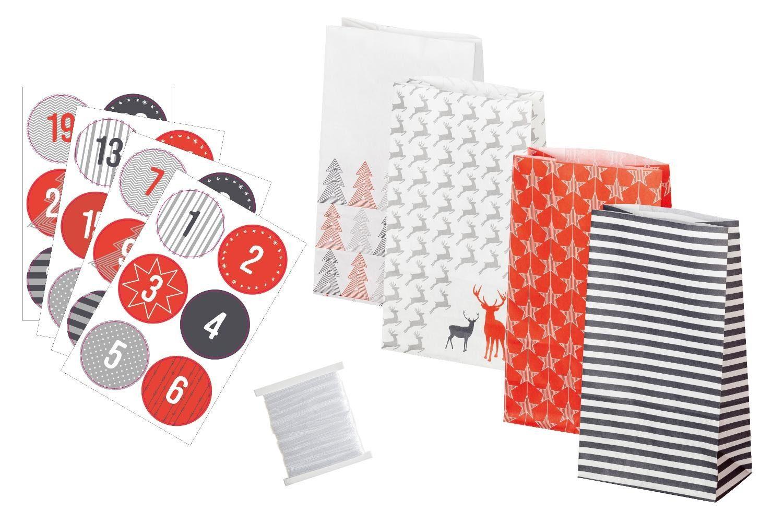 "Folia Adventskalender-Set ""Style"" lebensmittelechte Papiertüten"