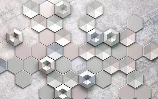 Vliestapete »Hexagon Concrete«, grafisch