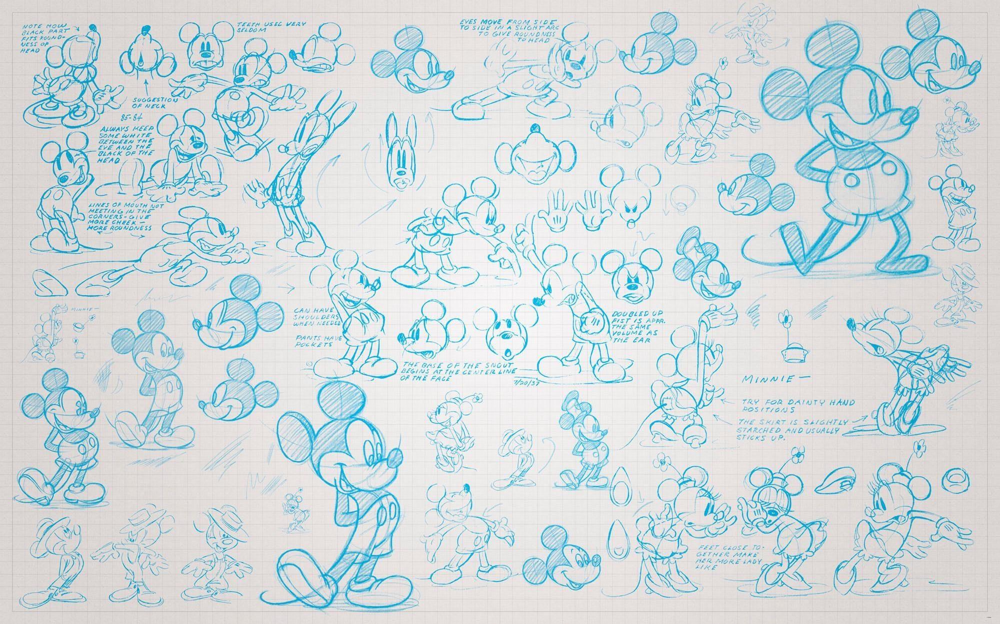 Komar Fototapete »Mickey Sketches«, 400/250 cm