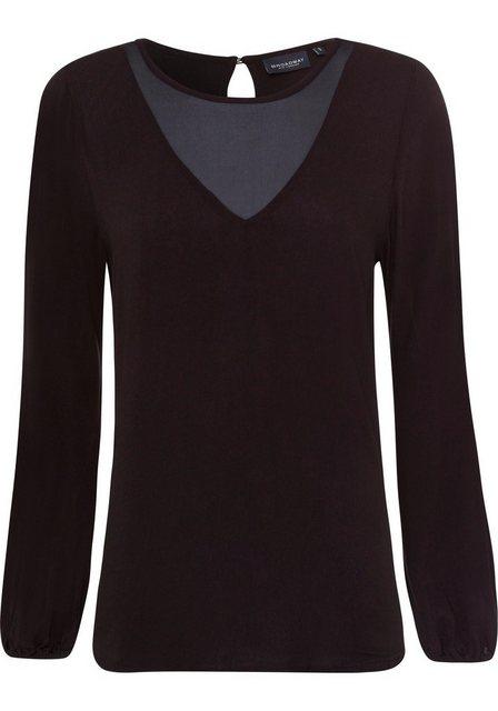 Damen BROADWAY NYC FASHION Schlupfbluse Genova mit transparentem Einsatz am Ausschnitt schwarz | 04059203728200
