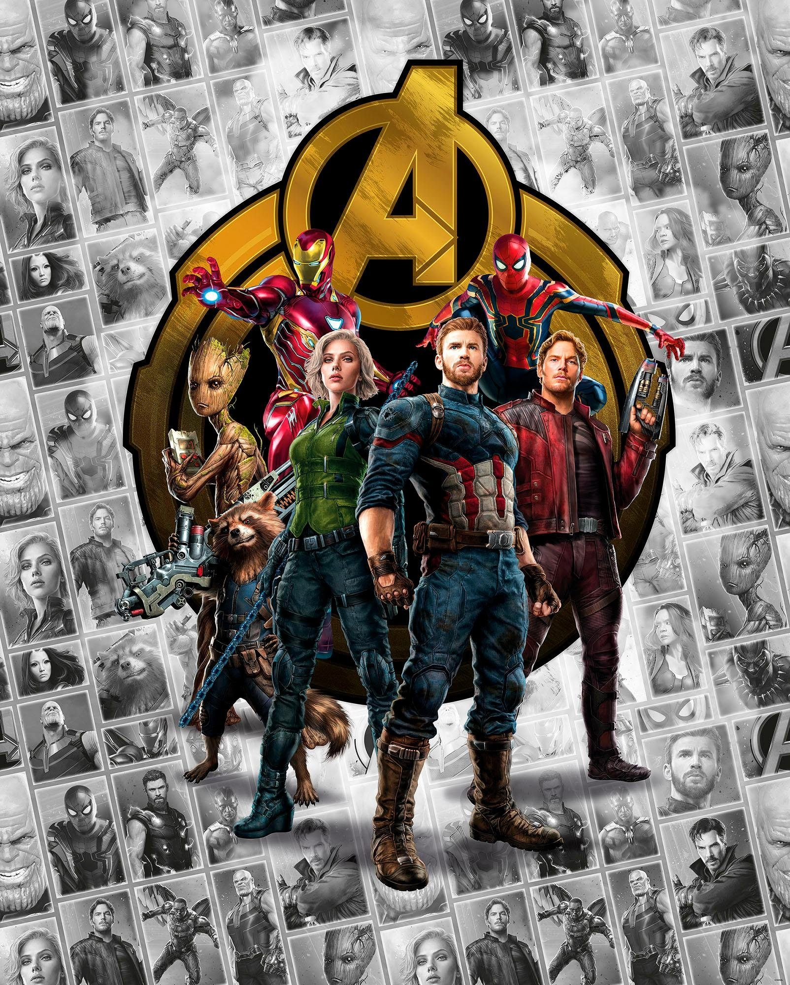 Komar Fototapete »Avengers Infinity War- Pattern Box«, 200/250 cm