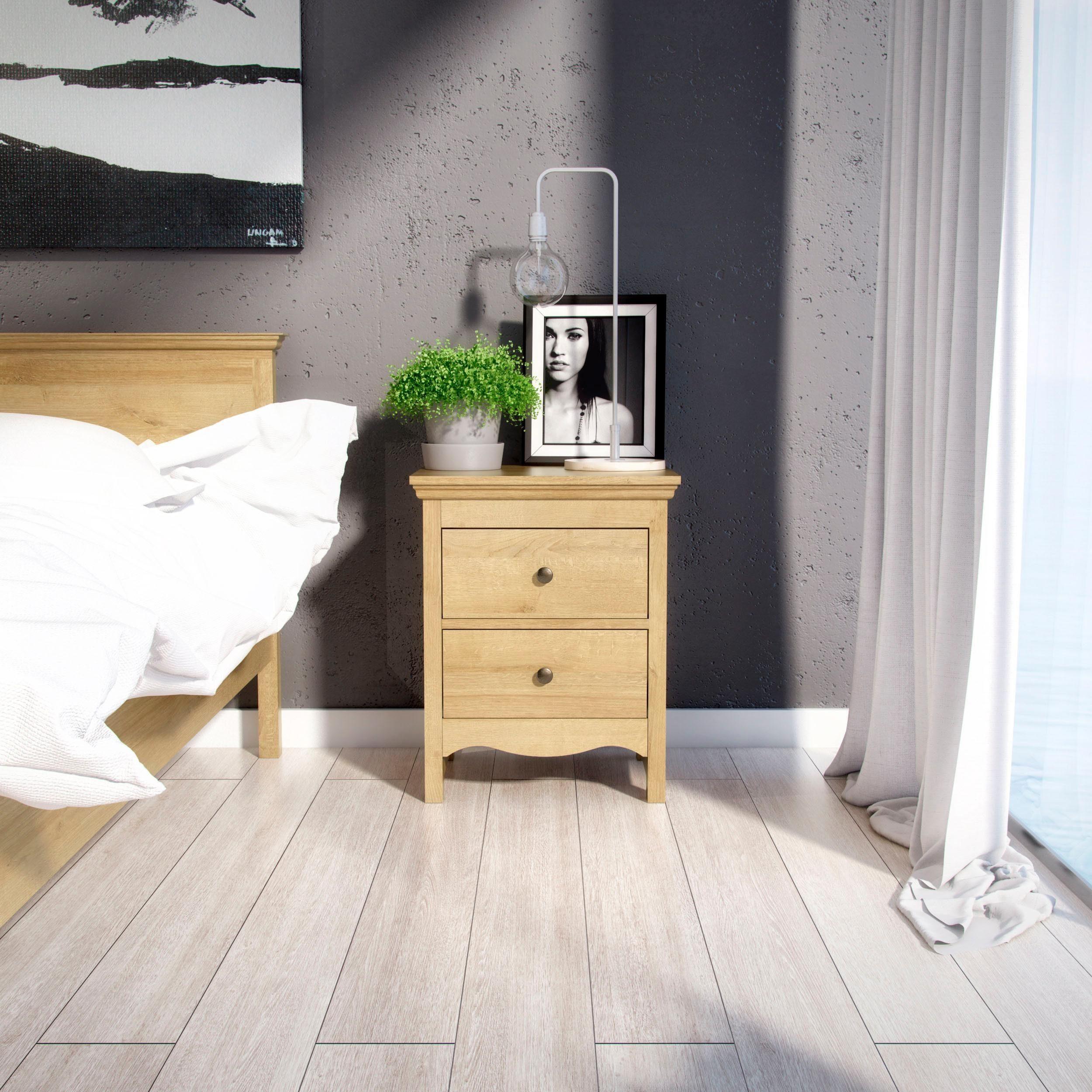 Home affaire Nachttisch »Silkeborg« aus foliertem Holzwerkstoff mit Eichenholz Optik, mit Metallgriffen, Breite 58 cm