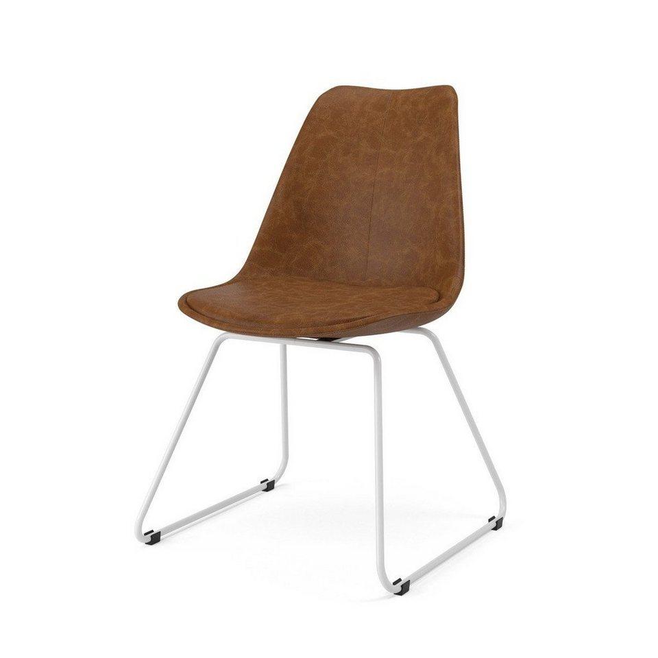 Kasper Wohndesign: Kasper-Wohndesign Stuhl Kunstleder Braun Metallkufe Versch