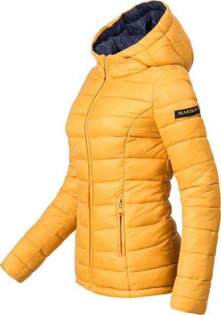 Marikoo Steppjacke »Luci« modische Damen Übergangsjacke mit großer Kapuze