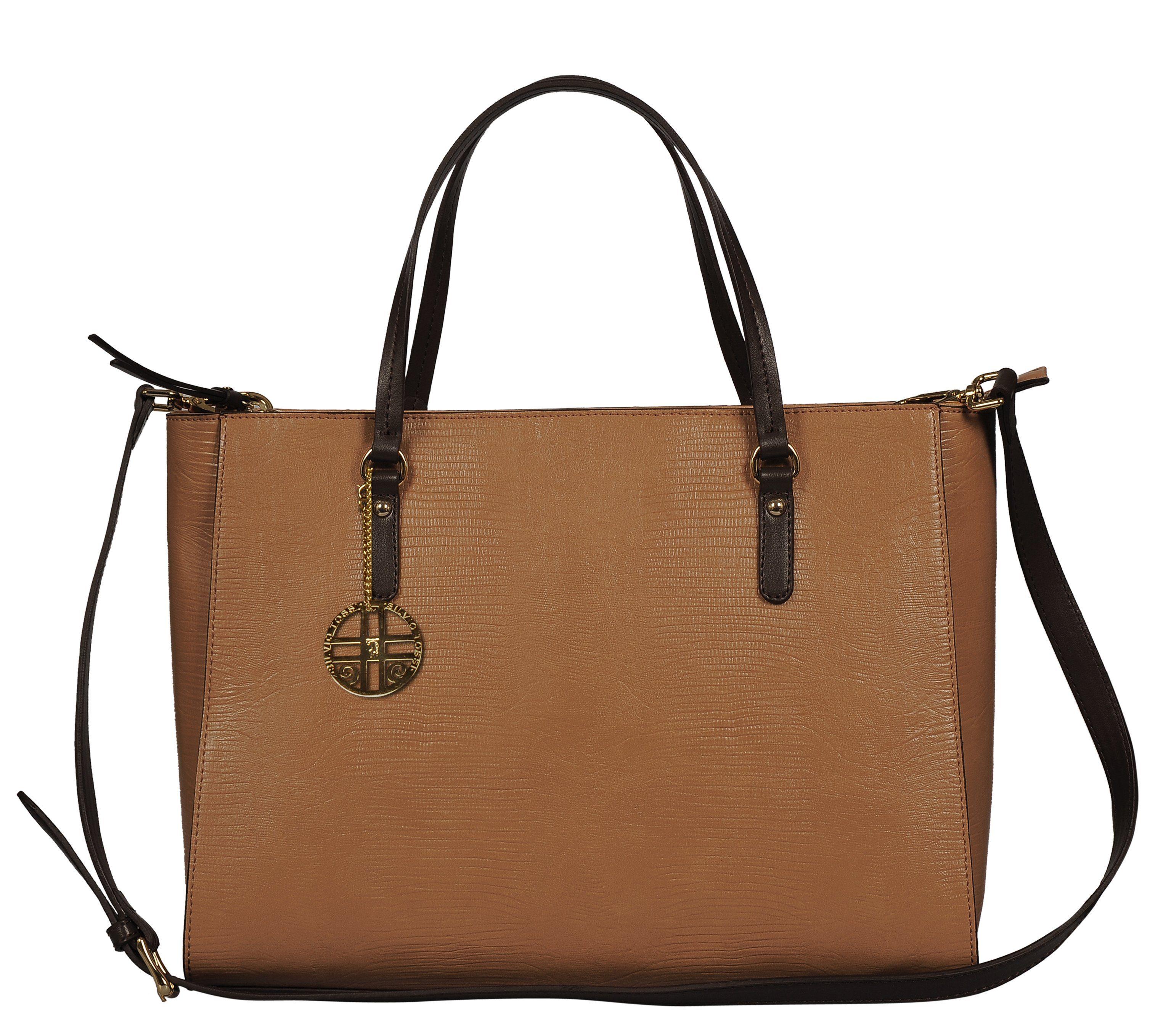 Silvio Tossi Lederhandtasche im Echsen-Design mit Markenanhänger