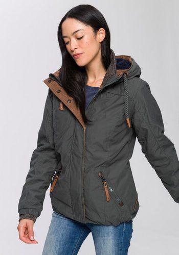 Damen naketano Winterjacke mit markentypischen Details grün | 04060606138596