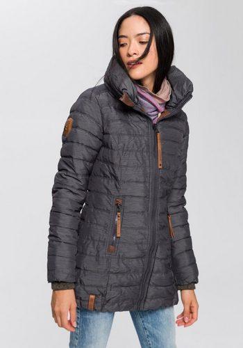 Damen naketano Winterjacke mit markentypischen Details und Bündchen am Saum grau | 04060606140599