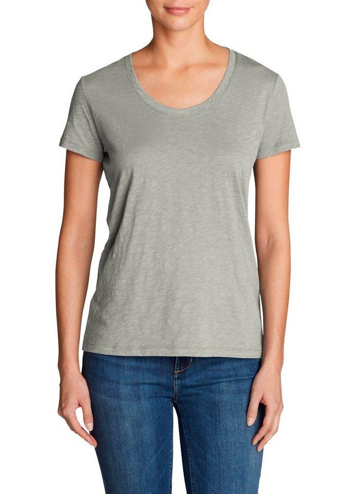 Damen Eddie Bauer  T-Shirt Legend Wash Slub-Shirt – Kurzarm mit Rundhalsausschnitt grau | 04057682340210