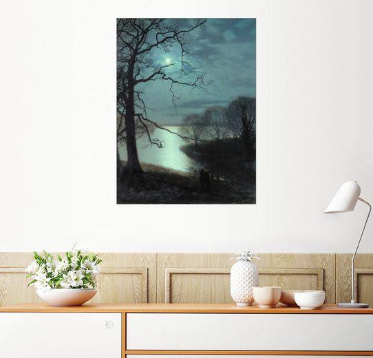 Posterlounge Wandbild - John Atkinson Grimshaw »Betrachten eines Mondbeschienen Sees«