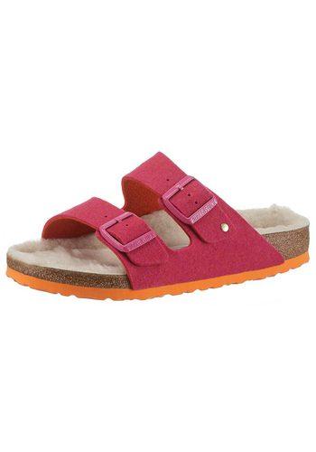 Damen Birkenstock Arizona Pantolette in schmaler Schuhweite mit kuscheliger Innensohle rosa | 04044477444819