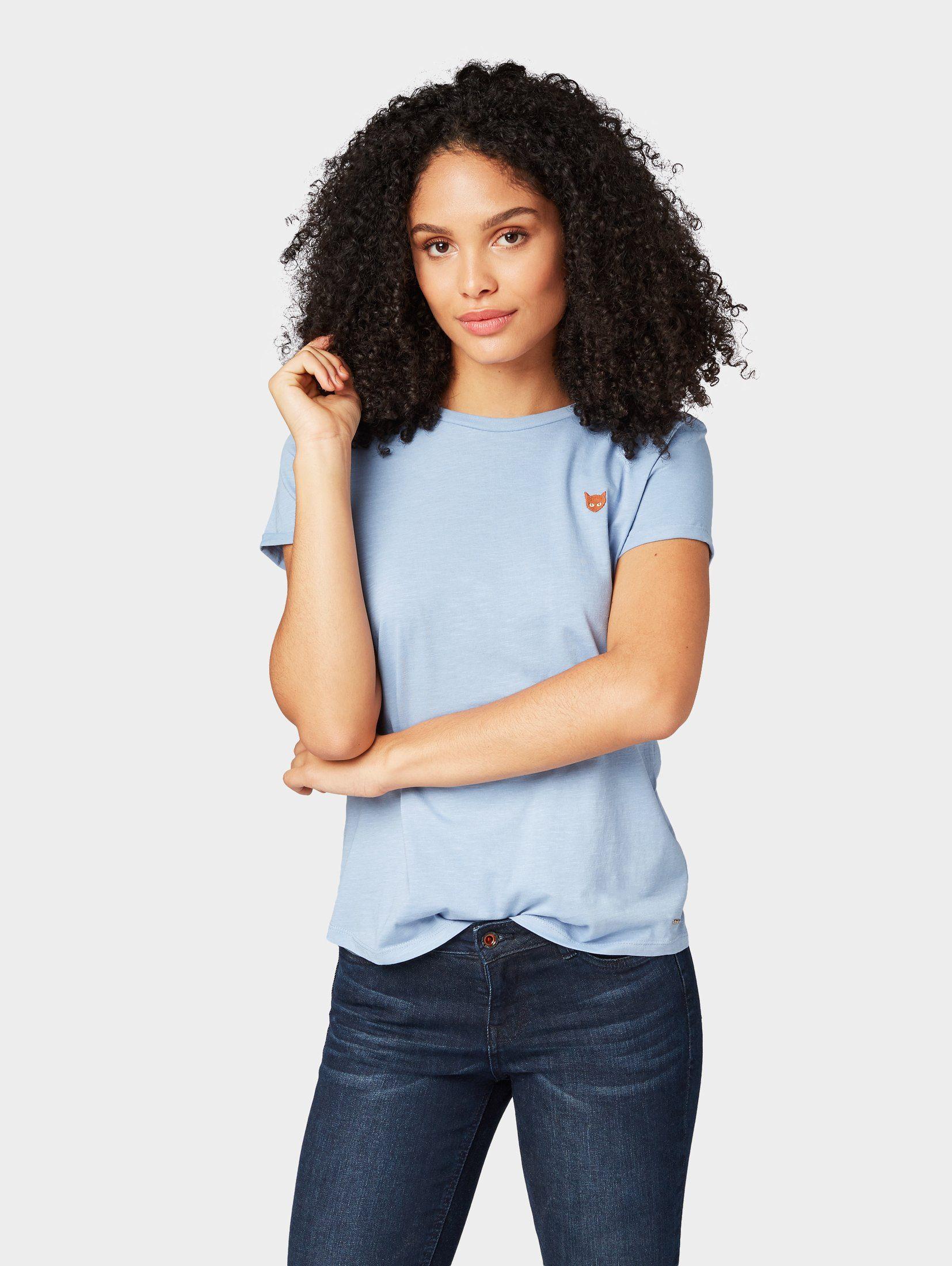 TOM TAILOR Denim T-Shirt »T-Shirt mit kleiner Stickerei«
