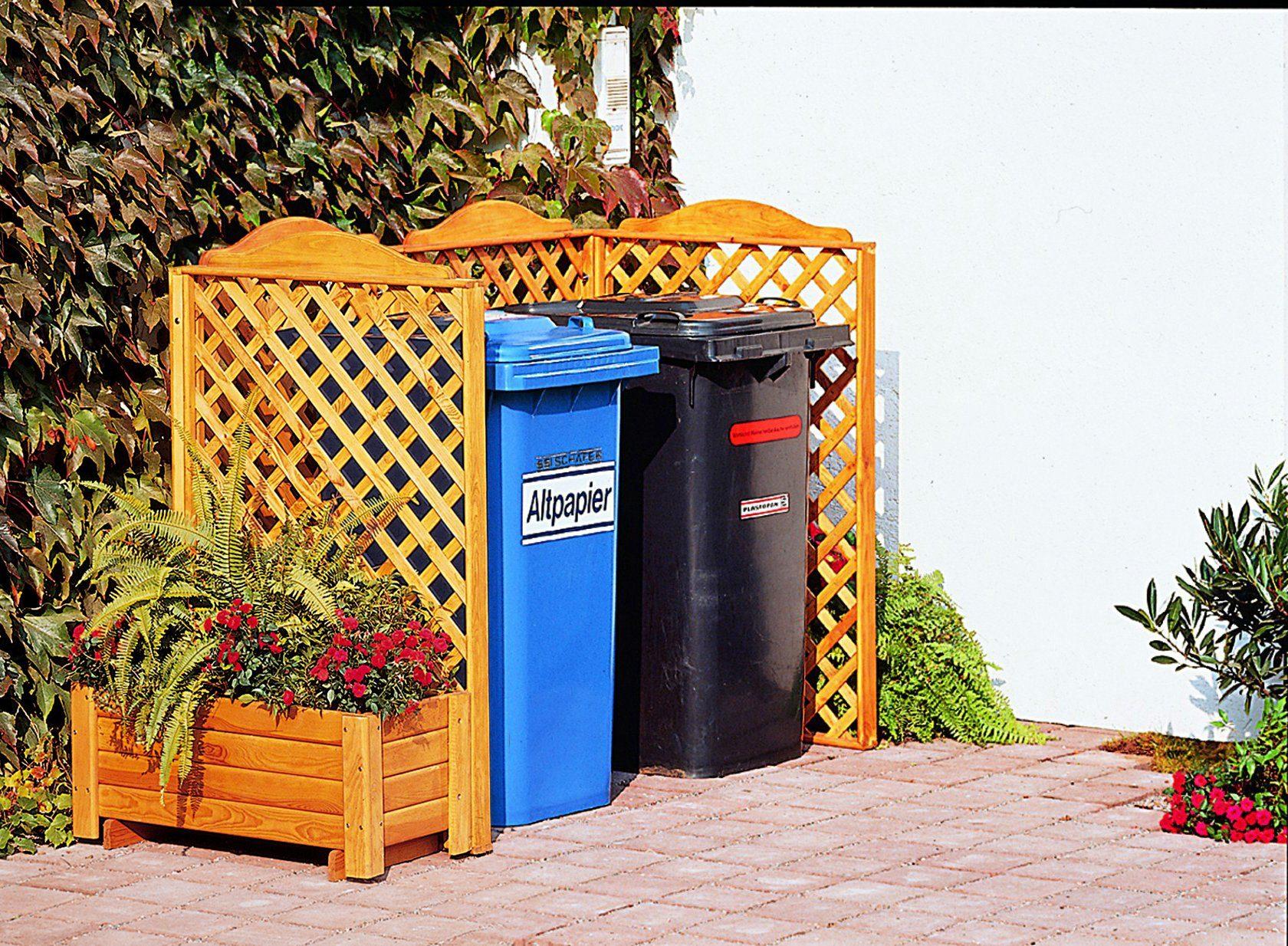 PROMADINO Mülltonnenabtrennung »Rex«, für 2 x 240 l, inkl. Pflanzkasten