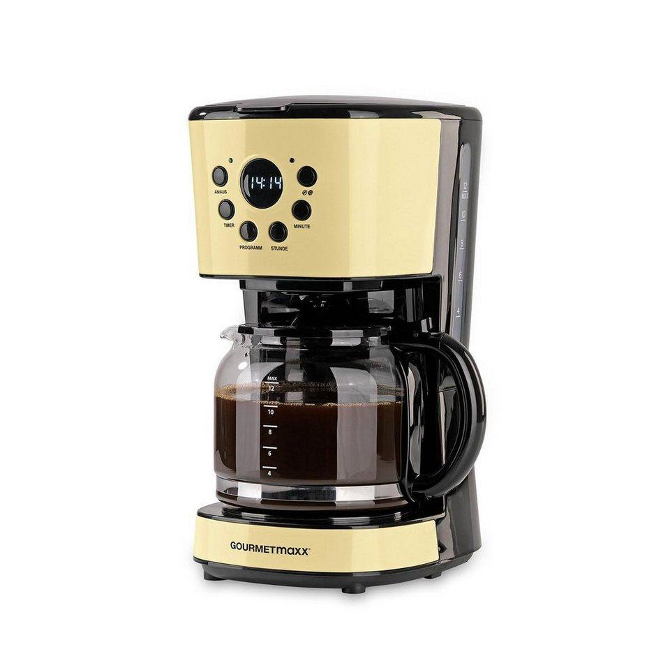 gourmetmaxx filterkaffeemaschine retro 900w vanille 1 5l kaffeekanne permanentfilter 1x4. Black Bedroom Furniture Sets. Home Design Ideas