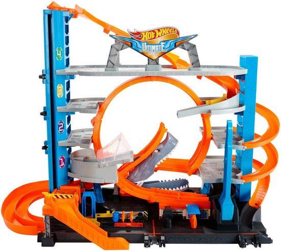 Hot Wheels Autorennbahn »Ultimative Garage mit Hai-Angriff«, inklusive 2 Spielzeugautos