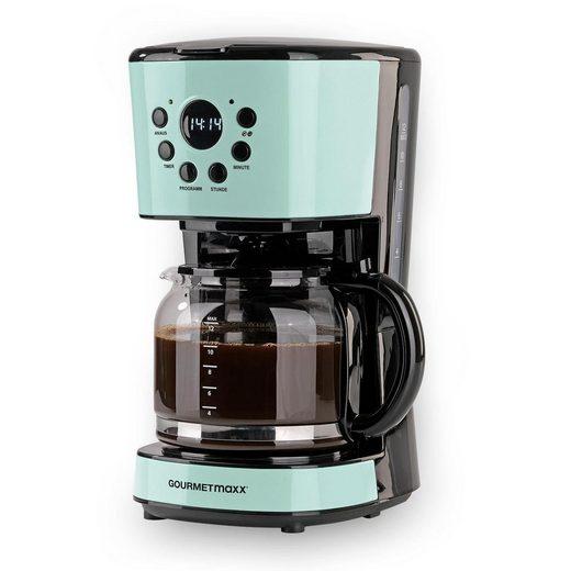 GOURMETmaxx Filterkaffeemaschine Retro 900W mint, 1,5l Kaffeekanne, Permanentfilter 1x4