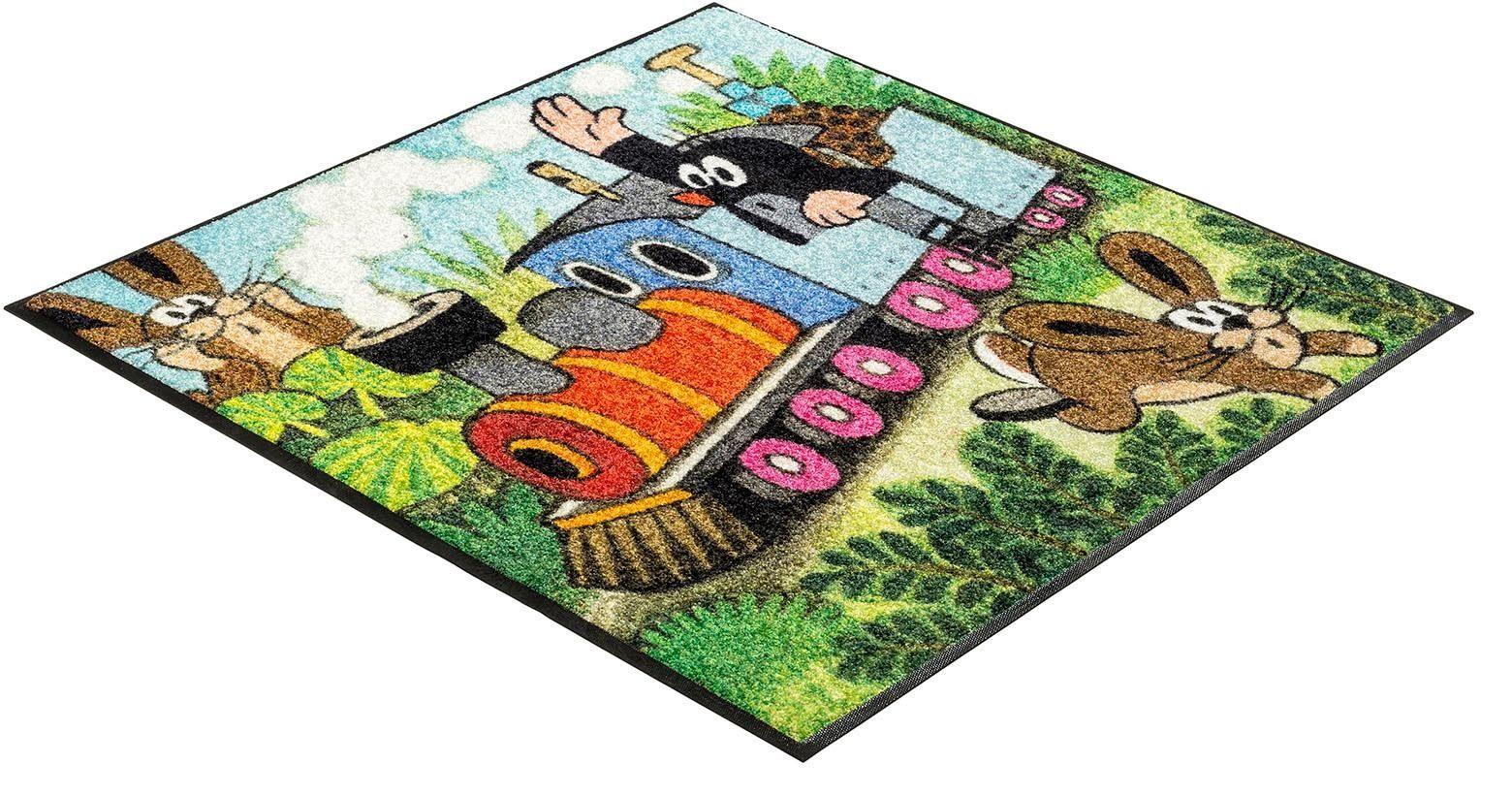 Kinderteppich »Maulwurf Zug«, wash+dry by Kleen-Tex, quadratisch, Höhe 7 mm