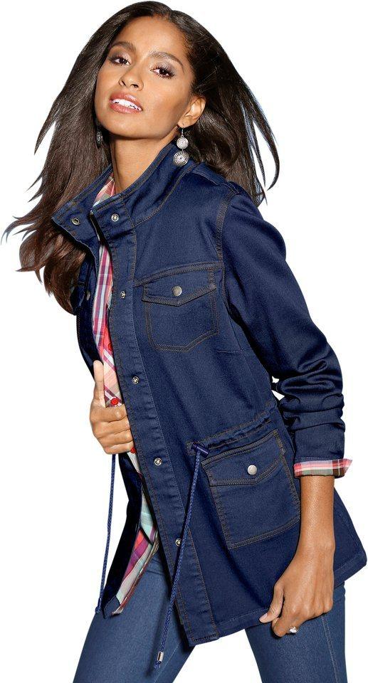 Damen Classic Basics Jeans-Jacke mit Stehkragen blau | 08961101579593