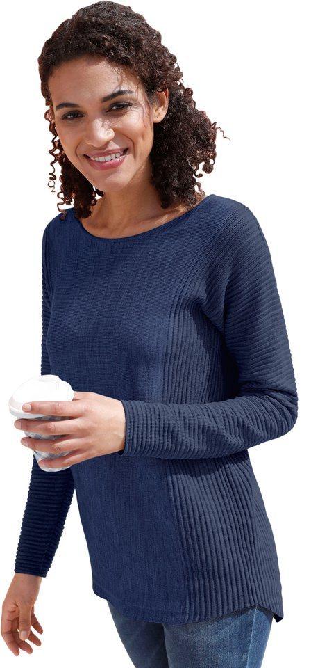Damen Collection L. Pullover mit seitlichem Rippstrick blau | 08935234936356