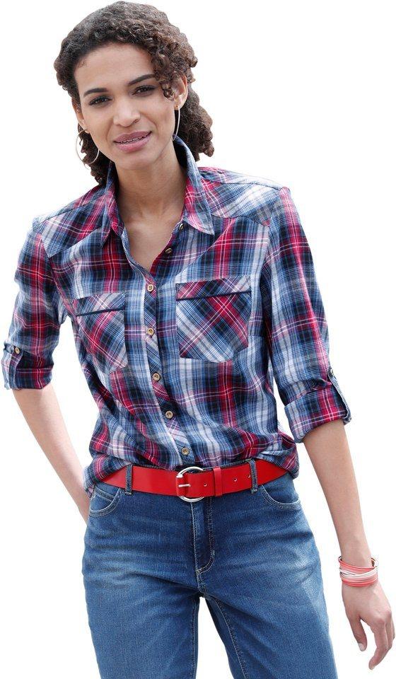collection l bluse aus flauschig weichem flanell  casual looks bluse aus flauschig weichem flanell