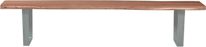 SIT Bank »Tables&Tops«, aus massiver Akazie, mit silberfarbenem Metallgestell