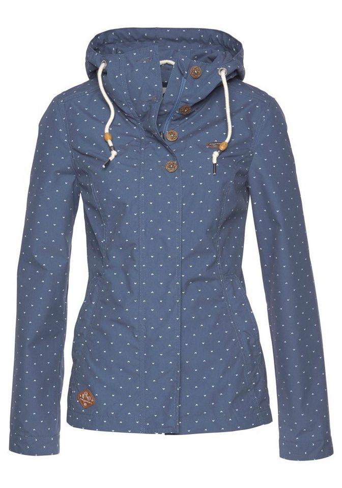 Damen Ragwear Kurzjacke »LYNX DOTS« mit Alloverprint, Vegan von PETA verifiziert blau  Damen-Outdoorjacken